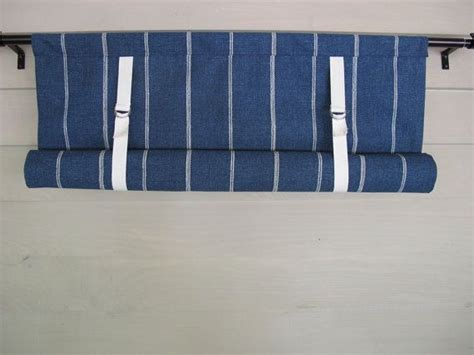 blue denim roll  window shade swedish blind stage coach