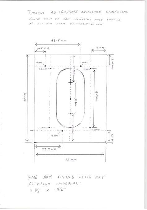 thorens td 125 armboard template armboard no 2