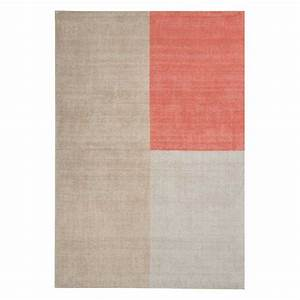 tapis contemporain en laine beige et corail design geoetrique With tapis laine design