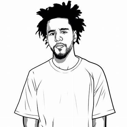 Cole Drawing Cartoon Drawings Rapper Pencil Hop