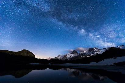 Sky Night Stars Mountains Lake Water Reflection