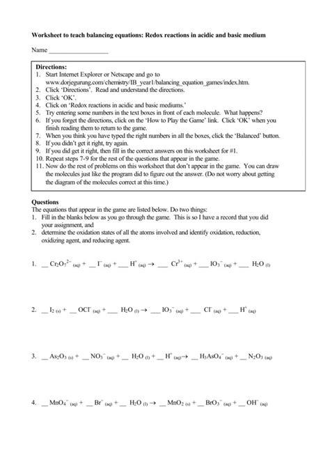 Balancing Redox Reactions Worksheet Homeschooldressagecom