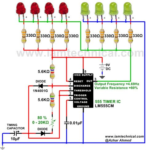 Astable Circuit Using 555 Timer Output Frequency 4.69Hz ...