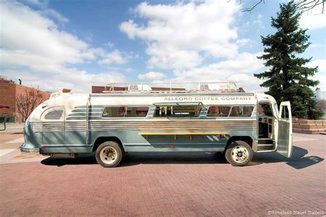 Want to enjoy sustainably delicious allegro coffee and allegro tea at work? The Allegro Coffee Company Flxible Bus by Timeless Travel Trailers