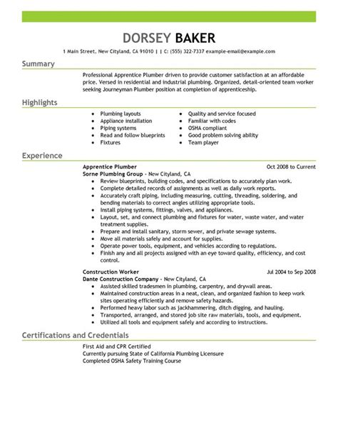 Plumber Resume Sles by Unforgettable Apprentice Plumber Resume Exles To Stand Out Myperfectresume