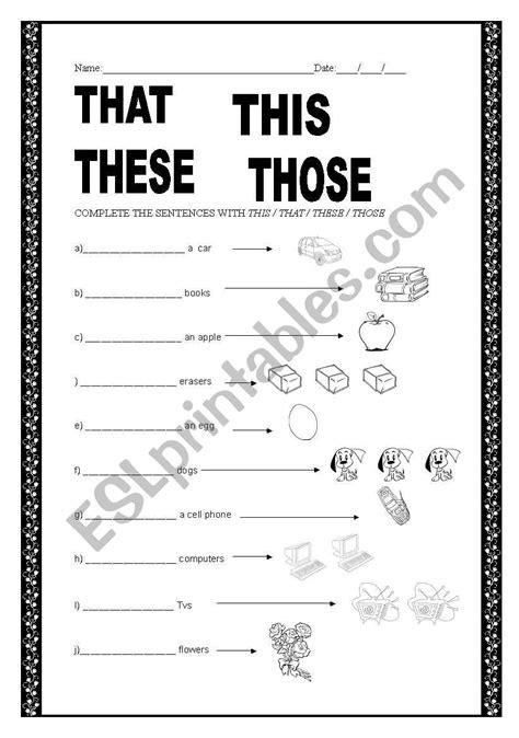demonstrative pronouns esl worksheet by chris mariquito