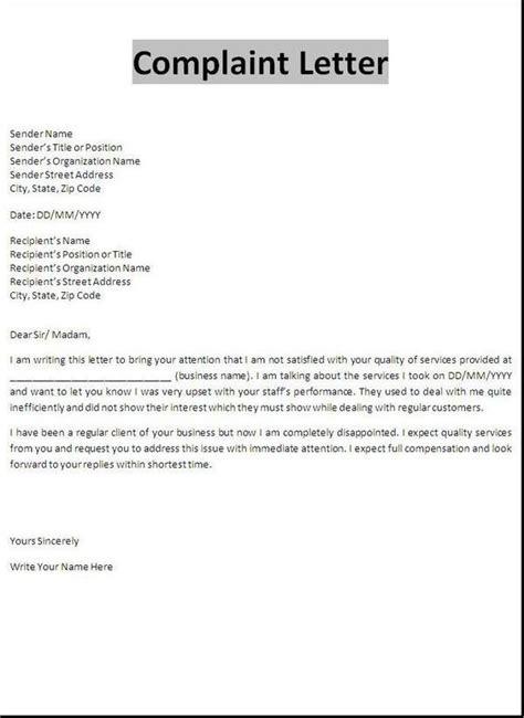 tenant complaint letter tenant complaint letter
