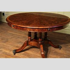 Round Expandable Formal Mahogany Dining Table With Leaves
