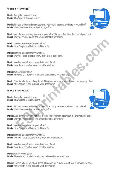 office dialogue esl worksheet   agus