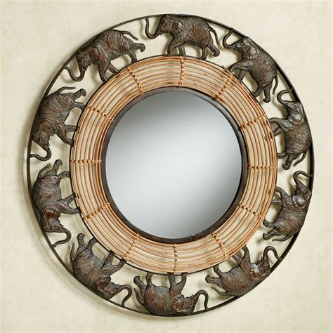 Rattan Lamp by Elephant Parade Round Wall Mirror