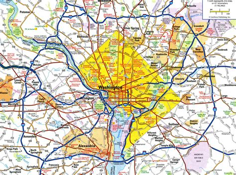 large detailed roads  highways map  washington dc