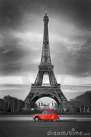 eiffel tower   french red car royalty  stock