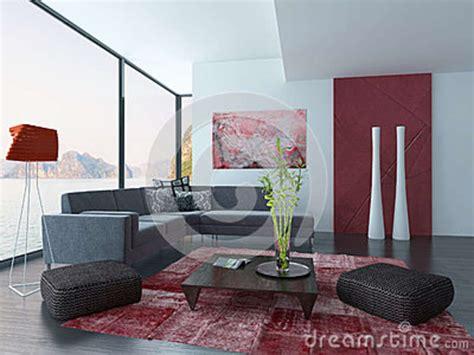 roter teppich wohnzimmer wohnzimmer innenraum mit roter wand und teppich stock abbildung illustration haus