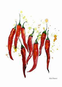 Red chili pepper, Watercolor Pepper, graphics print
