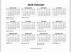 Printable Federal holidays calendar 2018 free 2019 2018