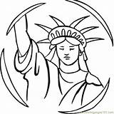 Liberty Statue Coloring Outline Drawing Buddha Clipart Cartoon Torch Cliparts Printable Clip Face Draw Usa Coloringpages101 sketch template