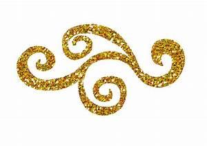 Gold Glitter Swirl Clipart