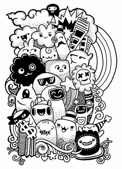 Doodle Monster Drawing Vector Hipster Hand Crazy
