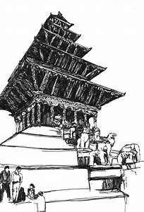 Temple Sketch  Bw  Kathmandu  Nepal By Ujala Shrestha