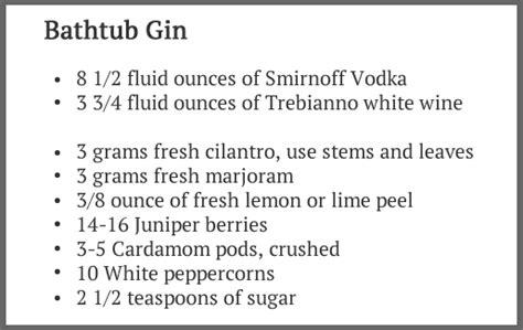 bathtub gin distilled history