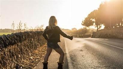 Blonde Hiking Hitch Road Sunrise Waiting Resolution