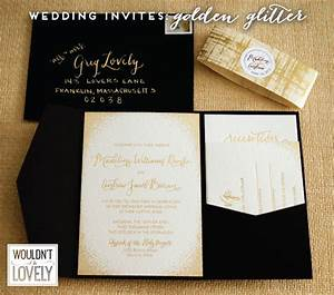 glittery gold custom wedding invitation suite wouldn39t With black and white handmade wedding invitations
