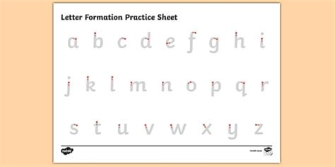 abc letter formation alphabet handwriting practice sheet
