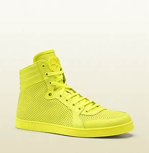 Gucci neon yellow leather high top sneaker DBL