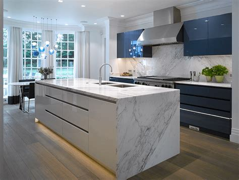 waxley  high gloss blue white kitchen  roundhouse