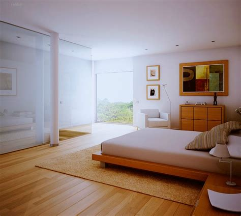 White Bedroom, Wood Floors And View  Interior Design Ideas