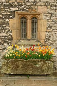 Window, With, Stone, Flower, Box, Hadon, Hall, Derbyshire, Uk