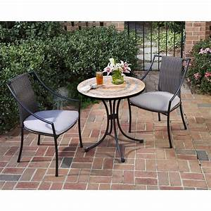 home styles terra cotta 3 piece tile top patio bistro set With home depot high top patio furniture