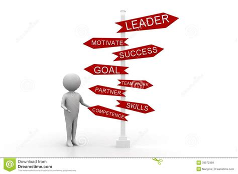 3d Man With Leader Motivate Success Goal Team Work Stock ...
