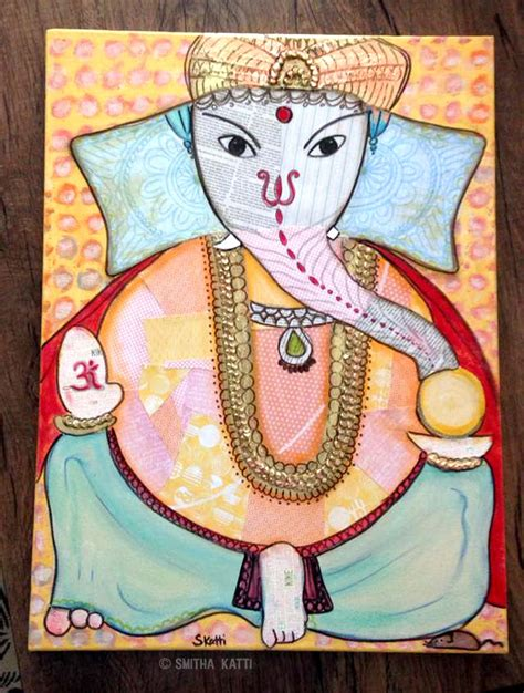 ganesha painting  canvas smitha katti