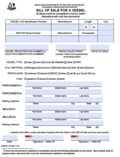Registering A Boat In Maryland by Free Maryland Boat Bill Of Sale B 118 Form Pdf Word