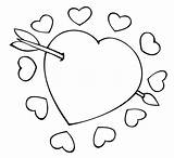 Coloring Pages Printable Hearts Heart Valentine Valentines Roses Cupid sketch template