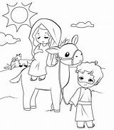 Bethlehem Travel Joseph Mary Coloring Pages sketch template