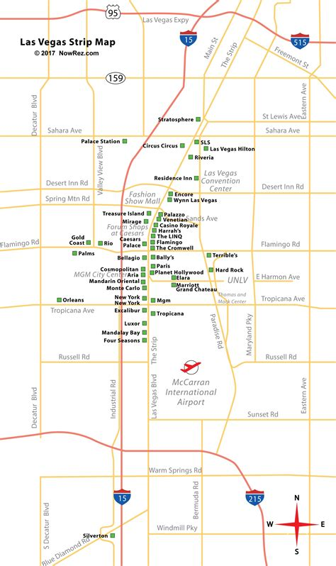 las vegas strip map city sightseeing tours