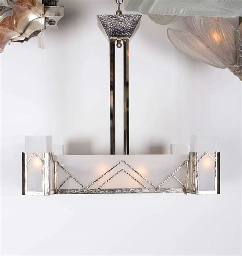 deco square chandelier frosted glass and nickel l charles at 1stdibs