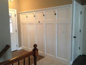 Home Depot Cabinets Garage by Entryway Wainscoting With Hooks For Coats And A Shelf For