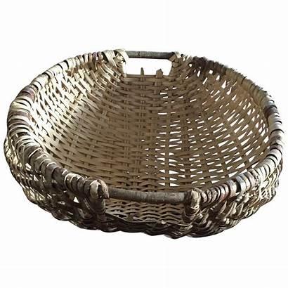 Basket Wicker Woven Handles Wooden Chairish