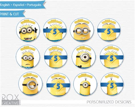 Circle Template 7 Inch Tim 39 S Printables Minions Birthday Cupcake Toppers Minions Favor Tags
