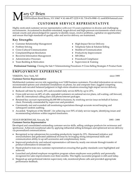 Resume Objectives For Customer Service by 12 Resume Exles For Customer Service Sle