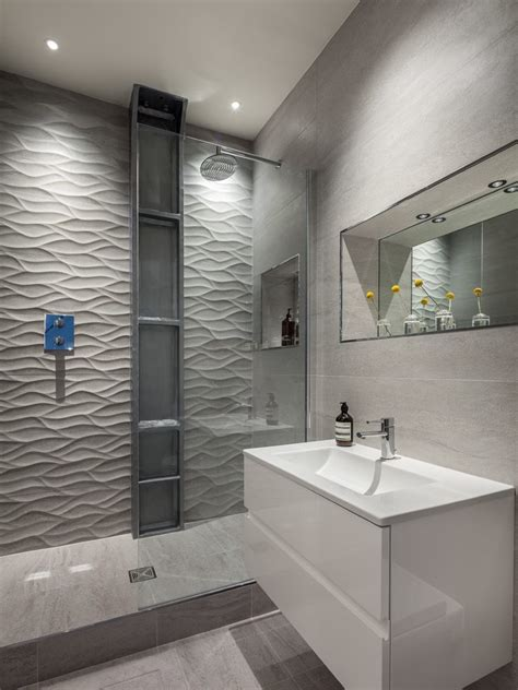 london textured wall bathroom contemporary  wide