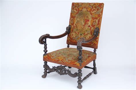 Antique Louis Xiv Style Carved Fauteuil High-back Armchair