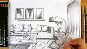 Drawing A Modern Living Room In One Point Perspective ...