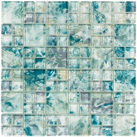 turquoise mixed maturq mosaic glass tile