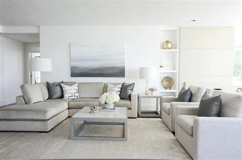 light taupe sofa  steel gray pillows transitional living room