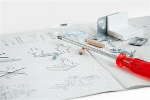Ikea Instruction Manual With Screwdriver And Screws Stock