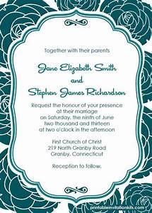 Wedding Invitation Printable Templates Free Pdf Download Rose Pattern Background Wedding
